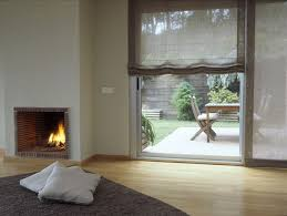 soft roman shades on sliding glass door