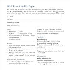 Simple Birth Plan Examples Birthing Plan Examples One Page Birth Plan Template 7 Simple
