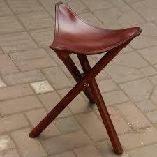 portable three leg wood artist folding stool w saddle leather seat living room furniture wooden