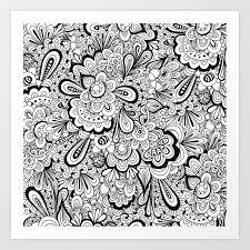 Art Doodle Summer Flower Doodle Art Print By Elissaiatridis