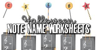 Halloween Note Name Worksheets - Themed Note Name Review ...