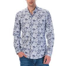 Blue Button Designs Paisley Design Long Sleeve Button Up Navy Blue White M