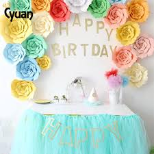 Cyuan 23PCS Cute DIY Flower Paper BackDrop Glitter Happy Birthday Banner  Birthday Party Decoration Home Decor