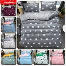 grey stars pattern stripe duvet cover 3 bedding set kids child bed linens single full double queen king size 200x230 bedding duvet covers from