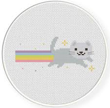 Cat Cross Stitch Patterns Best Rainbow Cat Cross Stitch Pattern Daily Cross Stitch