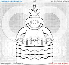 Small Picture Cartoon Clipart Of An Outlined Pig Making A Wish Over Candles On A