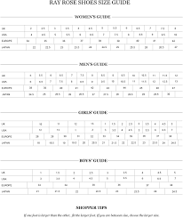 American Rose Size Chart Ray Rose Shoes Size Chart