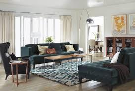 hutton sofa with shoowa rug in living room