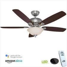 southwind 52 in led brushed nickel ceiling fan with remote control included indoor cherry ceiling fans lighting from hampton bay