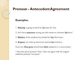 Pronoun Antecedent Agreement Pronoun Antecedent Agreement A Pronoun Must Agree In Number