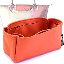 longchamp le pliage suedette singular style leather handbag organizer orange