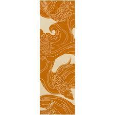 surya rain light gray and burnt orange runner 2 ft 6 in x 8 ft rug