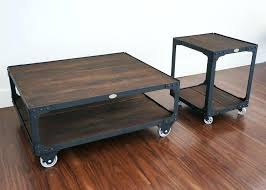 industrial coffee table rustic with wheels storage style australia