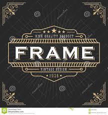 Classic Sticker Design Vintage Line Frame Design Stock Vector Illustration Of Line