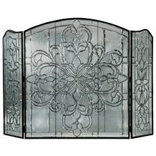 70 w x 46 h beveled glass clear folding fireplace screen meyda 107073