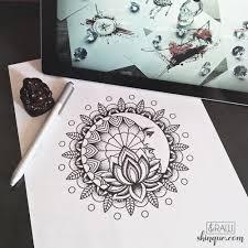 Moon Mandala Design Raw Af Moon And Lotus Mandala Design If Youre Planning