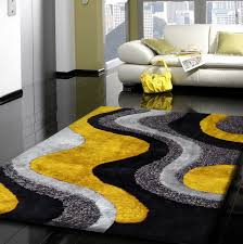 yellow grey and black rug