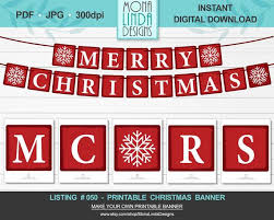 Printable Merry Christmas Banner Diy Square Christmas Banner Red And White Letters Winter Banner Garland Diy Printable Christmas Decor