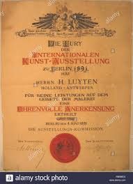 Honorable Mention Certificate Certificate Of The Honorable Mention Of H Luyten By The