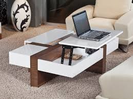 Beautiful Coffee Table, Excellent Brown And White Rectangle Cottage Laminated Wood  And Metal Pop Up Coffee ...