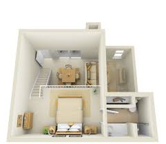 Studio Nd Floor Townhome D Floor Plan - Studio apartment floor plans 3d