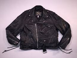 first genuine leather black leather belted motorcycle jacket men s tag size 46