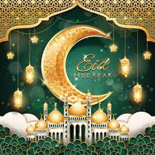 Eid Mubarak mit Halbmond und Moschee 2164466 Vektor Kunst bei Vecteezy