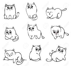 子供のグリーティング カード デザインのシンプルなデザインのかわいい落書き猫の設定します