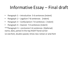 informative essay due wednesday ppt video  informative essay final draft