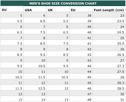 Men S Shoe Size Chart Australia Whats My Size International Clothing Shoe Size