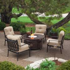 round propane fire pit table with decorative scroll hayneedle