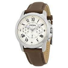 fossil grant chronograph dial brown leather mens watch fs4839 zoom