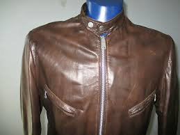 vine schott nyc cafe racer leather jacket mens 44 motorcycle moto quilt lined
