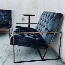 gorgeous blue velvet chair with metal frame18