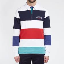 striped zip cotton rugby polo polo shirts billionaire boys club