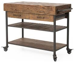 rustic kitchen island cart kershaw rustic chunky reclaimed wood iron double drawer kitchen island