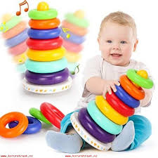 kingseye rainbow stacking tower with tumbler sounds and 7 colorful plastic ring educational toy baby toddler sensory stacking toys 6 to 12 months