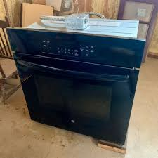 single electric wall oven black