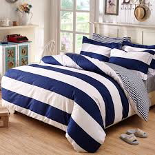 blue and white striped bedding and