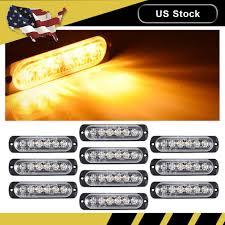 Strobe Light Led Kit Details About 10pcs Amber Car 6 Led Emergency Strobe Light Kit Bar Marker Flash Warning Yellow