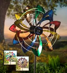 solar lighted led flower metal wind