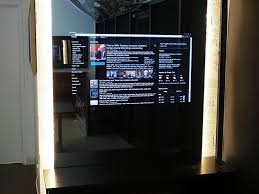mirror tv. smart mirror in hidden television showroom tv