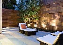 patio fence lighting outdoor fence decoration ideas patio contemporary with perforated metal wicker furniture outdoor cushions