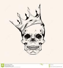 нарисованный рукой череп эскиза с линией искусством татуировки кроны