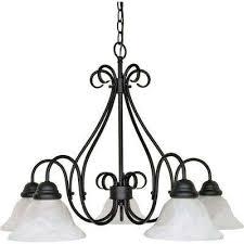 adria 5 light textured flat black chandelier with alabaster swirl glass