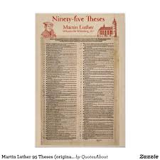 Martin Luther 95 Theses Original Latin Poster Zazzlecom In 2019