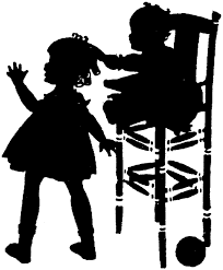 rocking chair silhouette. Silhouette Children Baby In Highchair Pulling Hair Girl Rocking Chair N