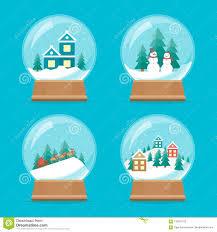 Snow Globe Design Cartoon Snow Globe Icons Set Vector Stock Vector