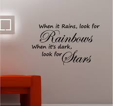 when it rains look for rainbows kitchen lounge bedroom wall art quote sticker vinyl decal on vinyl wall art quotes for bedroom with when it rains look for rainbows wall art vinyl kitchen lounge