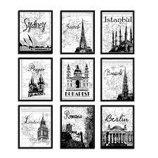 gallery wall art poster print set world travel by emilyswanderlust